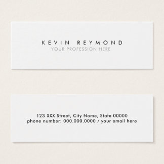 personal minimal basic simple white professional mini business card