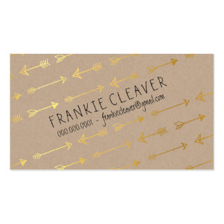 PERSONAL MODERN trendy arrow pattern gold foil Pack Of Standard Business Cards