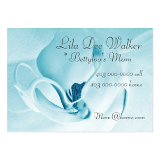 Personal Mommy Card; Orchid Cyan & White Floral Business Cards