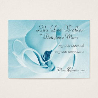 Personal Mommy Card; Orchid Cyan & White Floral Business Card