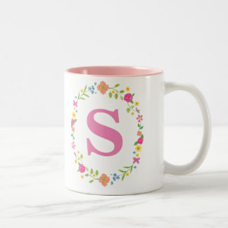 Personal Mug for Her, Pretty Floral Framed Initial