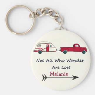 Personal Not All Who Wander Are Lost Quote Trailer Basic Round Button Key Ring