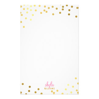 PERSONAL NOTE cute glamorous gold foil confetti Stationery