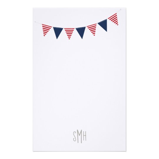 PERSONAL NOTE Red White Blue Cute Banner Flags Stationery
