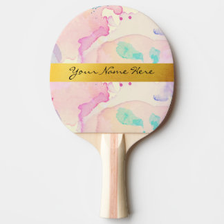 Personal Pastel Watercolor Splash Gold Name Strip Ping Pong Paddle