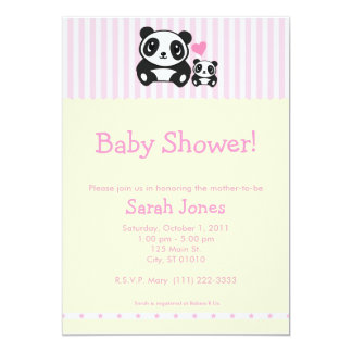 Personal Photo Panda Baby Shower - Pink Card