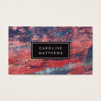 Personal profile card with red and blue worn paint