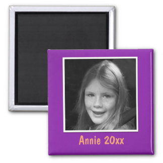 Personal Purple Greeting Custom Photo and Text Magnet