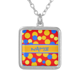 PERSONAL RED BLUE POLKADOTS SILVER NECKLACE