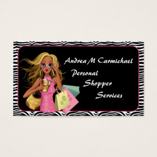 Personal Shopper Zebra Print Business Card