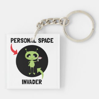 Personal Space Invader Double-Sided Square Acrylic Key Ring