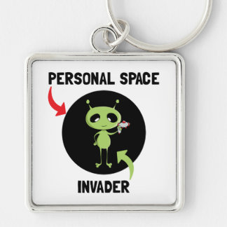 Personal Space Invader Silver-Colored Square Key Ring
