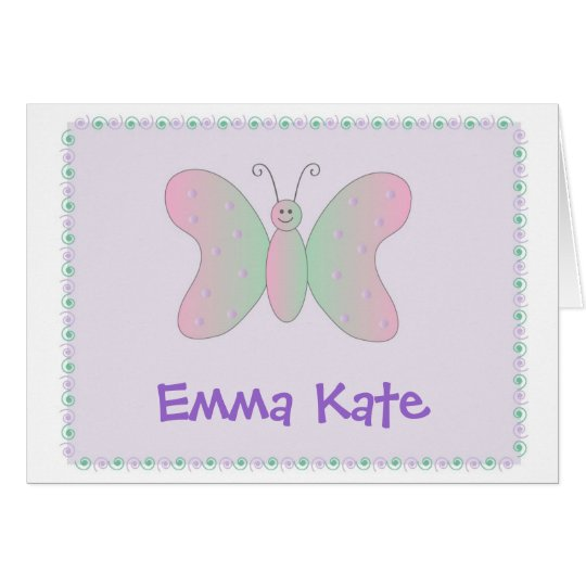 Personal Stationery - Butterfly Pastel Card