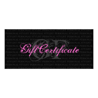 Personal Stylist Gift Certificate Personalised Rack Card