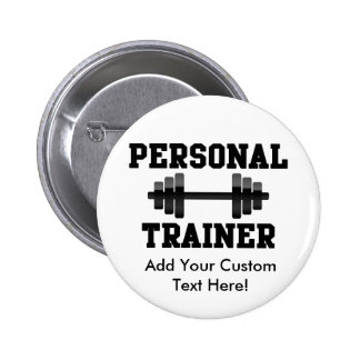 Personal Trainer Black and White Dumbell Training 6 Cm Round Badge