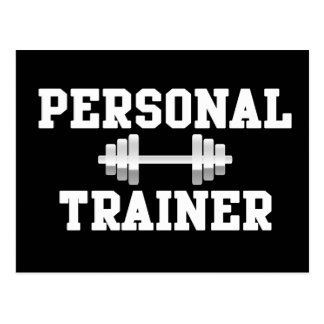 Personal Trainer Black and White Dumbell Training Postcard