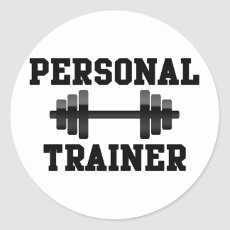 Personal Trainer Black and White Dumbell Training Round Sticker