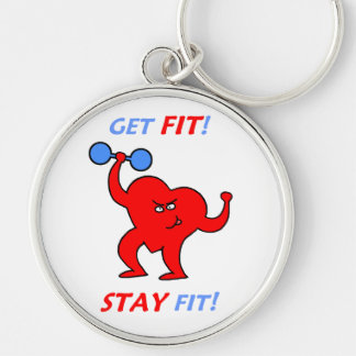 Personal Trainer Cardiology Heart Workout Silver-Colored Round Key Ring