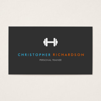 PERSONAL TRAINER LOGO with BLUE and ORANGE TEXT