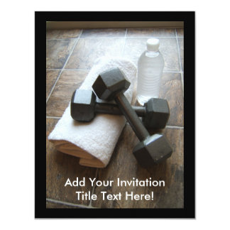 Personal Trainer or Fitness Dumbells Towel & Water 11 Cm X 14 Cm Invitation Card