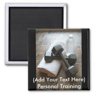 Personal Trainer or Fitness Dumbells Towel & Water Square Magnet