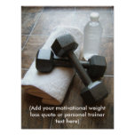 Personal Trainer or Fitness Dumbells Towel & Water Posters