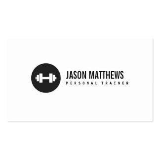 Personal Trainer White Dumbbell Logo Fitness Business Card Template
