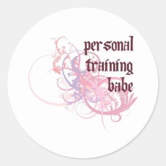 Personal Training Babe Round Sticker