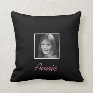 Personal Two Custom Photos Custom Text on Black Throw Pillow