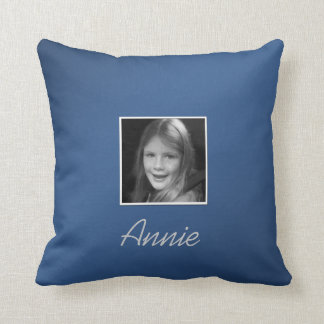 Personal Two Custom Photos Custom Text on Blue Throw Pillow