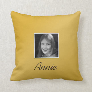 Personal Two Custom Photos Custom Text on Gold Throw Pillow