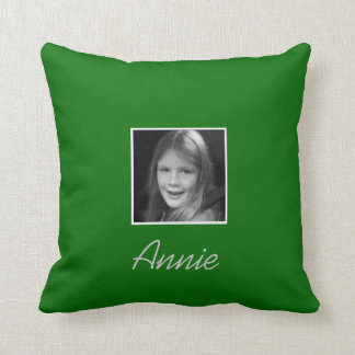 Personal Two Custom Photos Custom Text on Green Throw Pillow