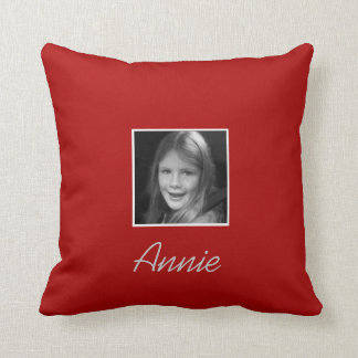 Personal Two Custom Photos Custom Text on Red Throw Pillow