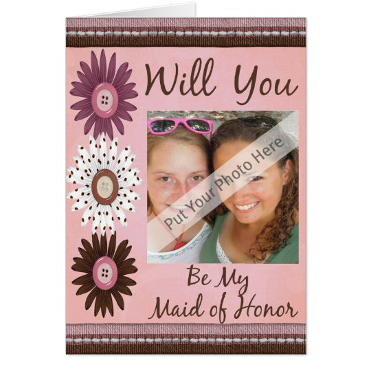 Personalise Be My Maid of Honour Photo Invitation
