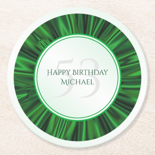 Personalise  Birthday  Faux Green Satin Round Round Paper Coaster