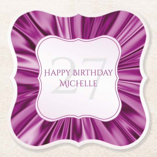 Personalise  Birthday  Faux Orchid Satin Bracket Paper Coaster