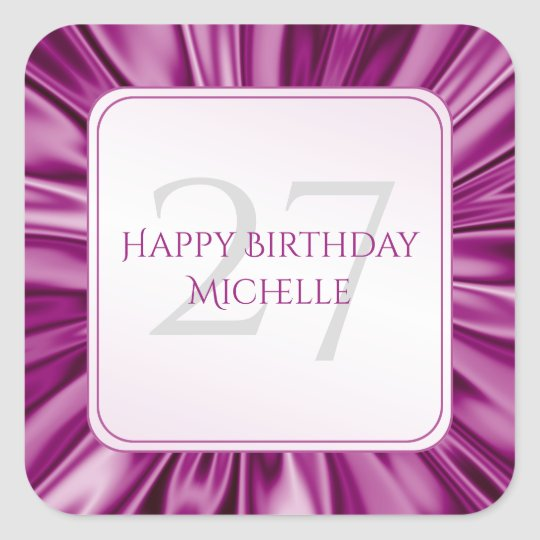 Personalise  Birthday  Faux Orchid Satin Square Square Sticker
