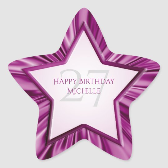 Personalise  Birthday  Faux Orchid Satin Star Star Sticker