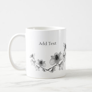 Personalise Black and White Orchid Coffee Mug