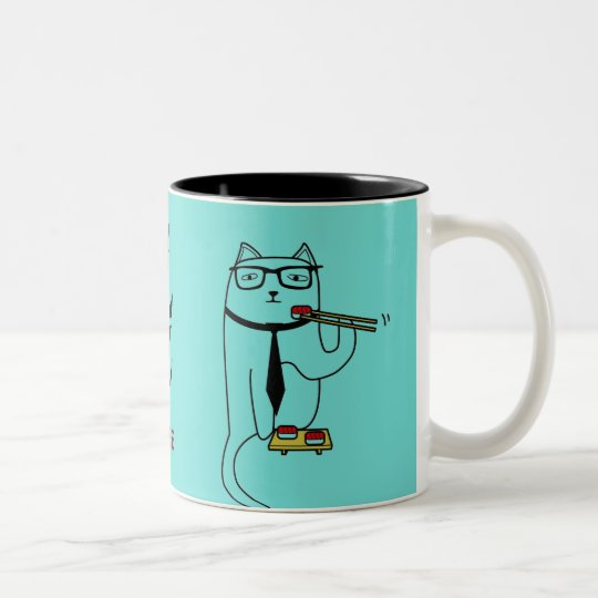 Personalise cat sushi mug w/ your name or business