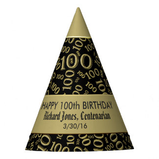 Personalise:  Centenarian, 100th Birthday Theme Party Hat