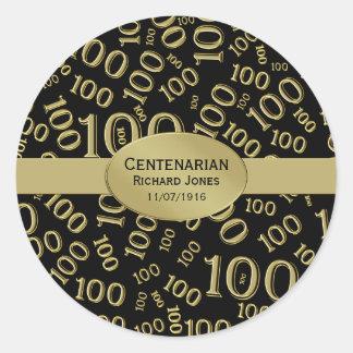 Personalise:  Centenarian, 100th Birthday Theme Round Sticker