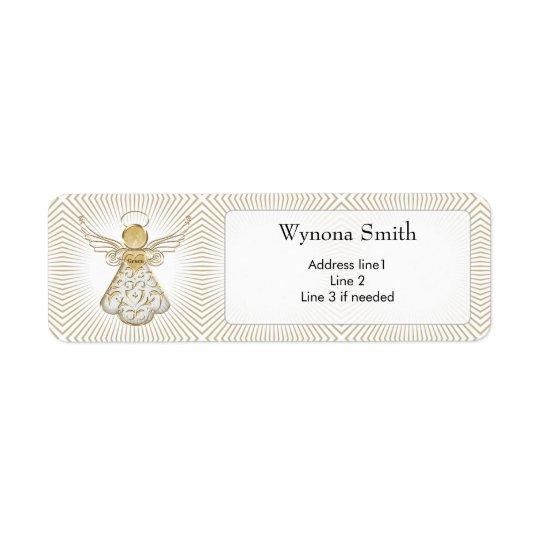 Personalise: Christmas Angel of Grace Filigree Return Address Label
