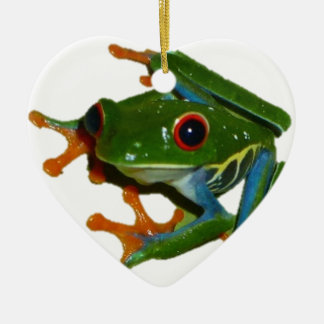 Personalise Costa Rica Red Eyed Frog Ceramic Heart Decoration