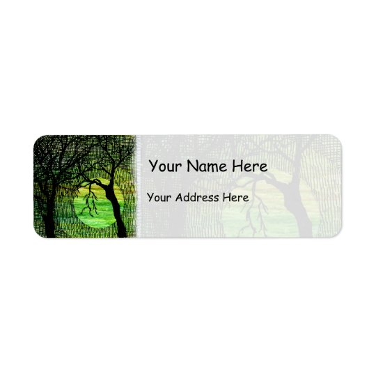 Personalise Cross Hatched Tree on Green Watercolor Return Address Label