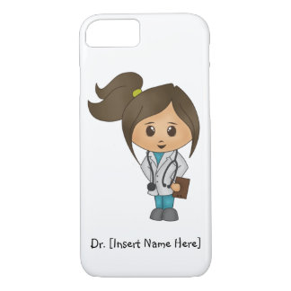 Personalise Cute Brunette Female Doctor iPhone 7 iPhone 7 Case
