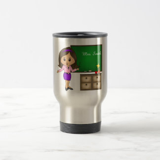 Personalise Cute Brunette Teacher's Name on Board Travel Mug