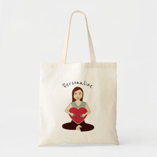 Personalise Cute Yoga Girl holding Red heart