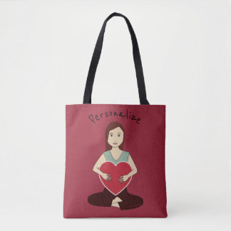 Personalise Cute Yoga Girl holding Red heart Tote Bag