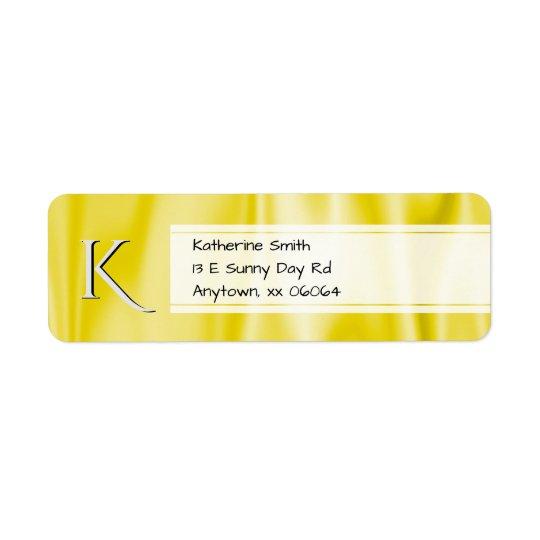Personalise:  Faux Yellow Satin Fabric Texture Return Address Label